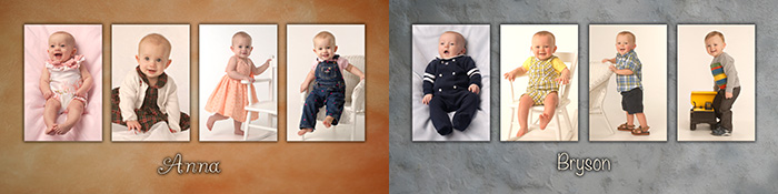 Boys and girls baby portrait panel by Dan Cleary of Cleary Creative Photography in Dayton Ohio