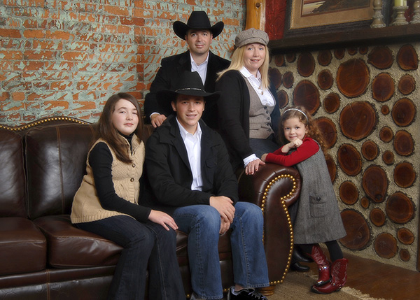 family portrait in cowboy outfits by Dan Cleary of Cleary Creative Photography in Dayton Ohio
