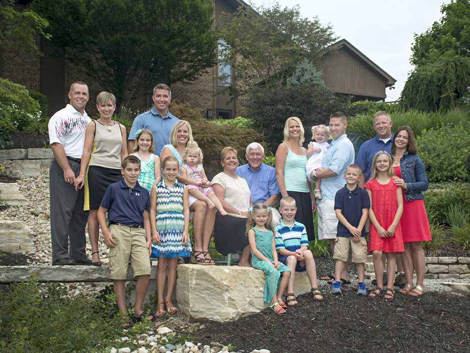 Large Family home portrait in their back yard by Dan Cleary of Cleary Creative Photography in Dayton Oh