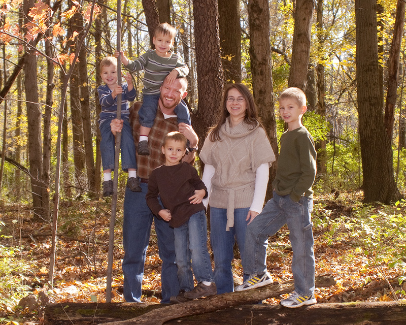 Outdoor portrait of family with four boys in John Bryant State Park by Dan Cleary of Cleary Creative Photography in Dayton Ohio