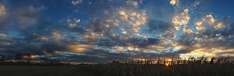Panorama sunset fine art photograph at corn field, Springboro, Ohio