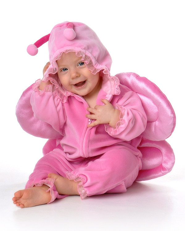 six month baby girl in pink bug outfit by Dan Cleary of Cleary Creative Photography in Dayton Ohio