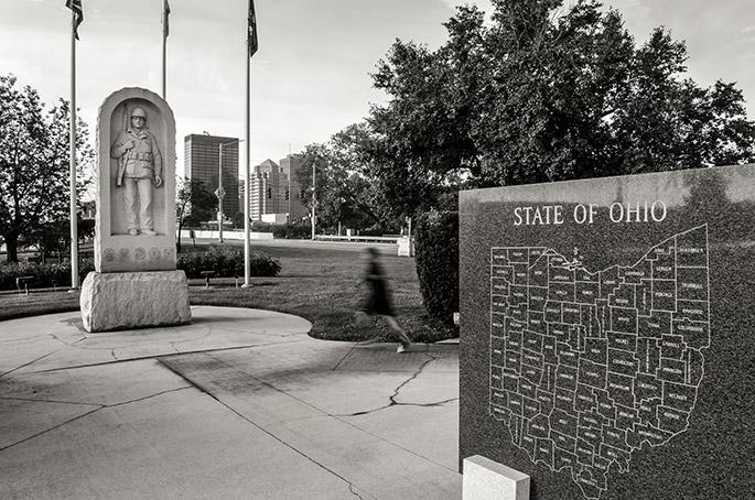 Black & White photograph of Downtown Dayton, Korean War Memorial