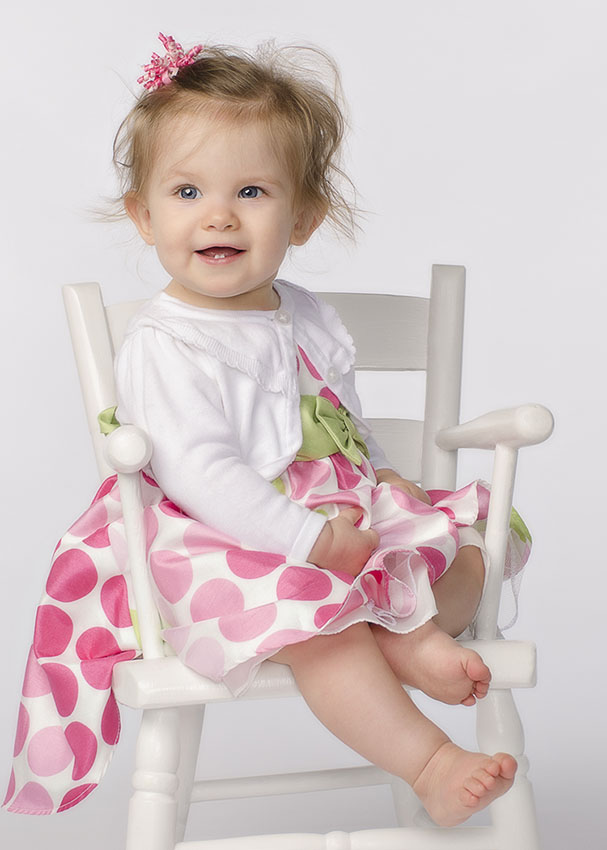 Nine Month Baby portrait sitting in chair by Dan Cleary of Cleary Creative Photography in Dayton Ohio