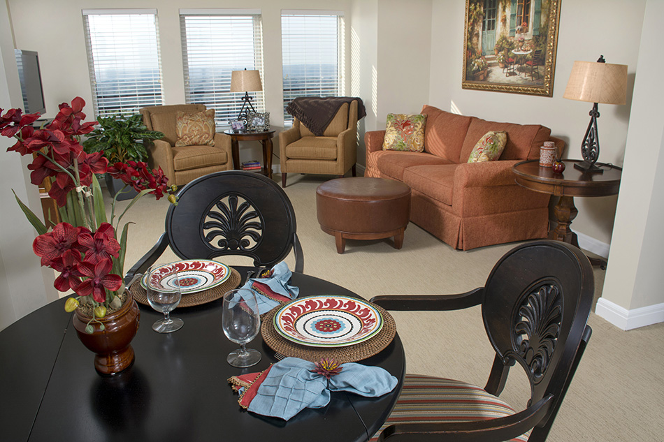 Interior livingroom photograph of retirement apartment by Dan Cleary of Cleary Creative Photography in Dayton Ohio