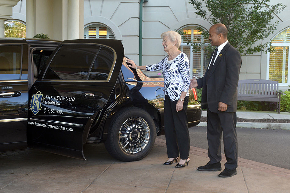 Professional photograph at Kenwood Retirement community car with ederly woman by Dan Cleary of Cleary Creative Photography in Dayton Ohio