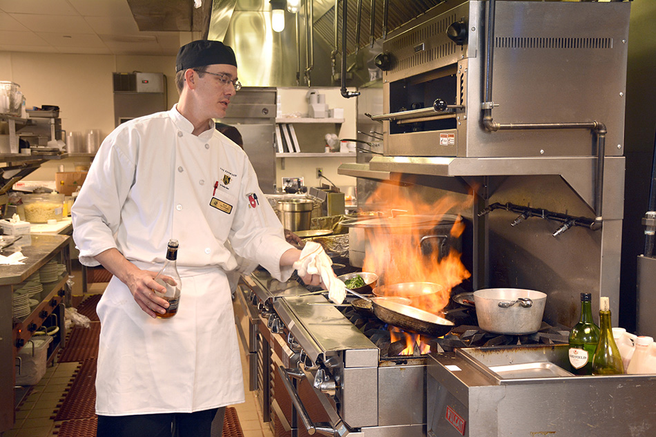 professional photograph at Kenwood Retirement community kitchen chef cooking by Dan Cleary of Cleary Creative Photography in Dayton Ohio